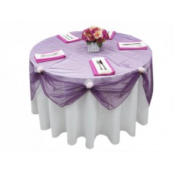 "Organza Round Tablecloth  96"" Purple"