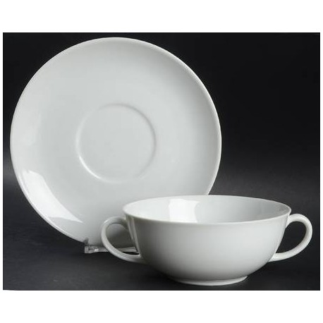 White Rim China Soup Cup and Saucer