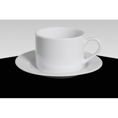 White Rim China Coffee Cup and Saucer