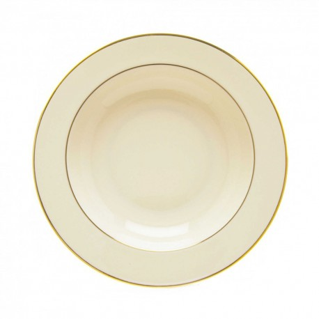 "Soup Plate 8 ½"" Ivory China with Gold Band"