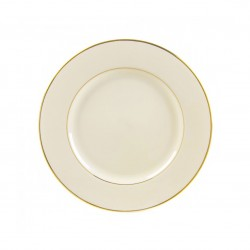 "Ivory Salad/Dessert Plate 7 ½"" with Gold Band"