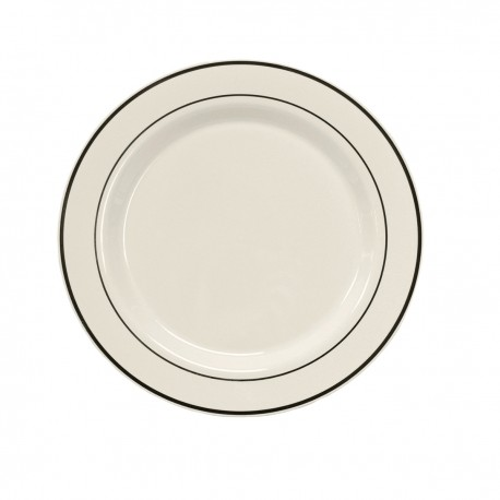 """White Dinner Plate 10 ¼"""" with Silver Band"""