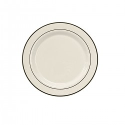 "White Salad/Dessert Plate 7 ½"" with Silver Band"