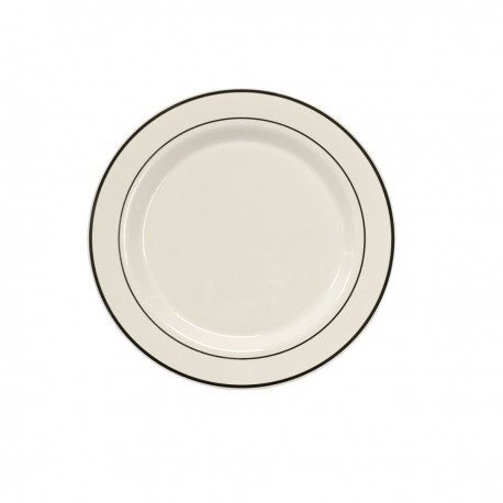 """White Salad/Dessert Plate 7 ½"""" with Silver Band"""