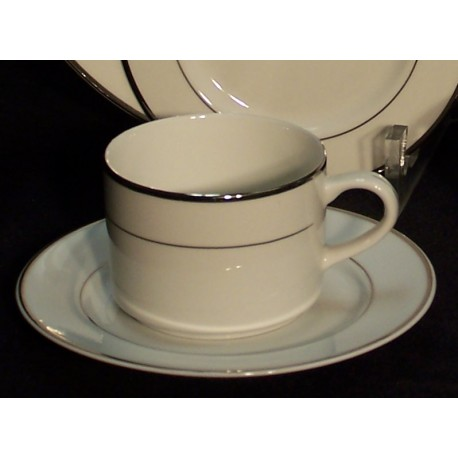 White Coffee Cup and Saucer with Silver Band