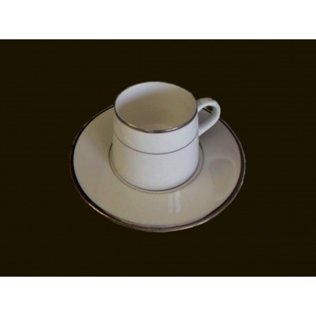 White Demitasse Cup and Saucer with Silver Band
