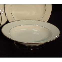"White Soup Plate 9"" with Silver Band"