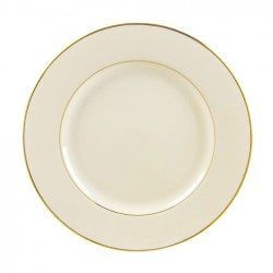 """Ivory China with Gold Band Dinner Plate 10 ¼"""""""
